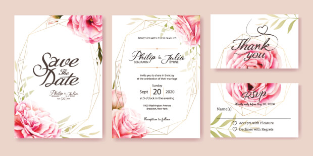 De uitnodigingskaart is belangrijk bruilofsdrukwerk