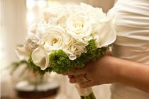 De bruidsjurk in beige tinten.